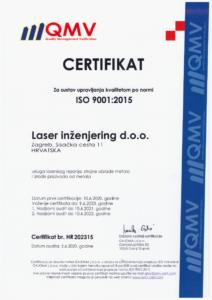 ISO certifikat 9001:2015 Laser Ing